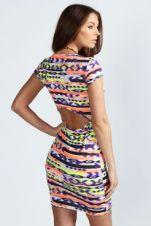 Open Back Neon Aztec Bodycon Dress