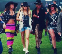 Fergie of the Black Eyed Peas and a group of gilrfriends wander the field during Day 2 of the Coachella Music Festival in Indio, Ca
