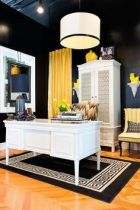 I love the color combo white, black and yellow. Sorta reminds of the Kardashian home.